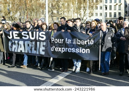 LYON, FRANCE - 15 JANUARY, 2015: Protesting after the attacks against journalists, from Charlie Hebdo newspaper, peacekeepers, police officers, civilian men and women and kosher store in Vincennes - stock photo