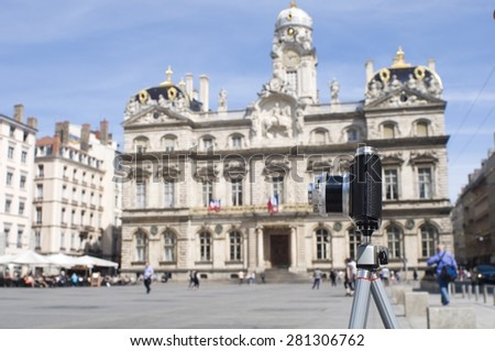 LYON, FRANCE - 22 May 2015: Camera in front of the town-hall of Lyon. Berlin on May 22, 2015. Lyon, France - stock photo