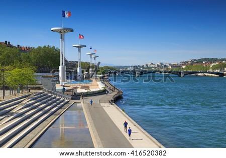 LYON, FRANCE, MAY 6: centre Nautique at the Rhone river in Lyon, May 2016. - stock photo
