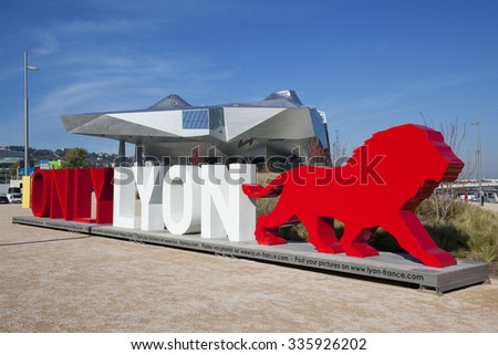 """LYON, FRANCE, November 5, 2015 : OnlyLyon, the city branding word in front of the """"Musee des Confluences"""", a science and anthropology museum at the confluence of Rhone and the Saone rivers. - stock photo"""