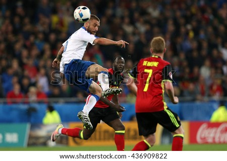 LYONE- FRANCE, J UNE 2016 :  De Rossi  in action during football match  of Euro 2016  in France between Belgium vs Italy at the 