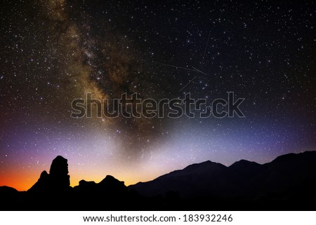 Lyrids Meteor Shower 2013 Sierra Nevada Mountains California USA - stock photo