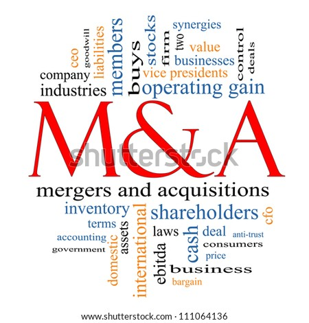 M & A (Mergers and Acquisitions) Word Cloud Concept with great terms such as deals, stocks, ebitda, ceo, shareholders and more. - stock photo