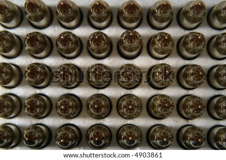 M16 AR15 rifle bullets viewed from the top, macro - stock photo