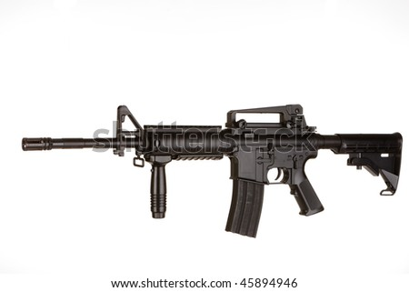 M4 Assault Rifle on a white background - stock photo