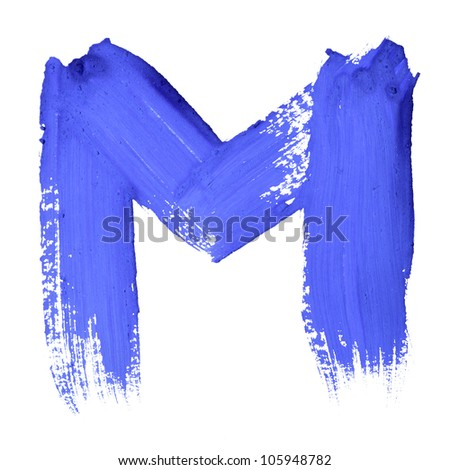 M - Blue handwritten letters over white background - stock photo