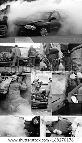 M'CHIGEENG, ONTARIO, CANADA-OCTOBER 1, 2008: Desaturated collage of a mock car accident, staged by police, fire, ambulance, and victim services, to educate students on the dangers of impaired driving. - stock photo