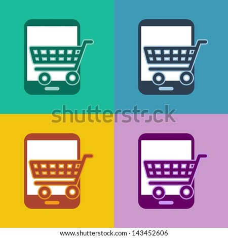 m-commerce flat design smartphone icon for FAQ with cellphone and question mark symbol in 4 different trend colors - stock photo