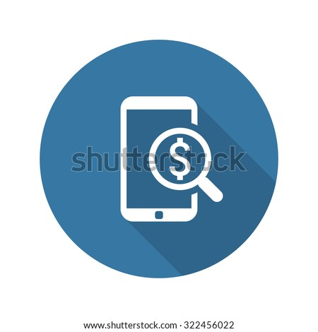 M-Commerce Icon. Business Concept. Flat Design. Isolated Illustration. Long Shadow. - stock photo