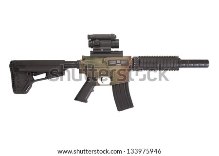 M4 CQB rifle with gunsight isolated on a white background - stock photo