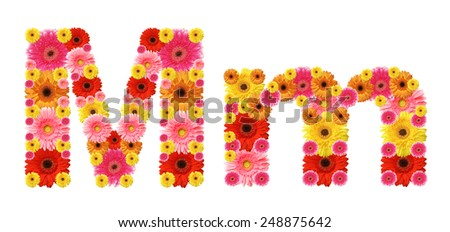 m, flower alphabet - stock photo