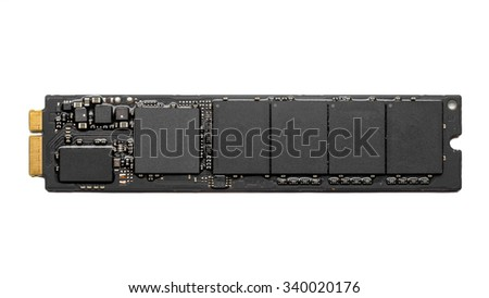 M2 high speed SSD closeup on white background - stock photo
