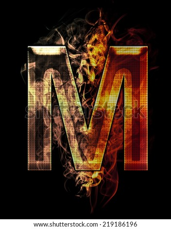 m, illustration of  letter with chrome effects and red fire on black background - stock photo
