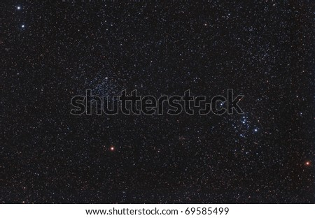 M46, M47 Star Clusters and the Calabash Planetary Nebula - stock photo