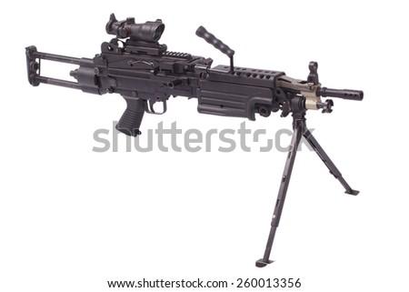 M249 machine gun isolated on white - stock photo
