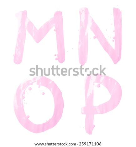 M, N, O, P letter character set of a hand drawn with the oil paint brush strokes, isolated over the white background - stock photo