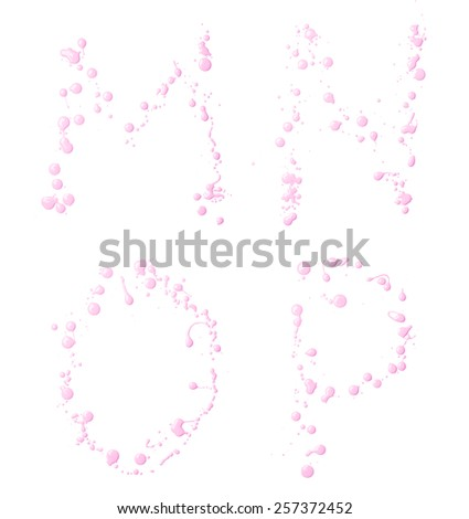 M, N, O, P letter set made with the drops and spills of the oil paint, isolated over the white background - stock photo