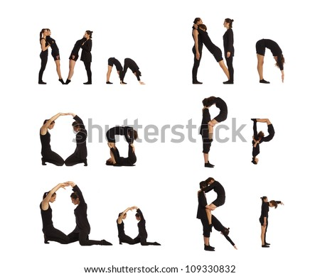 M, N, O, P, Q and R abc letters formed by humans - stock photo