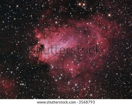 M17 Omega Nebula in Sagittarius - stock photo