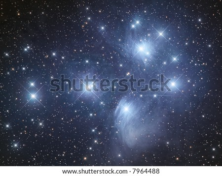 "M45 open cluster ""Pleiads"" in Taurus - stock photo"