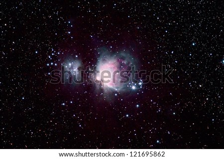 M42 Orion Nebula(also known as Messier 42, M42, or NGC 1976) - stock photo