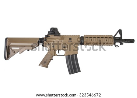 M4 special forces carbine isolated on a white background - stock photo