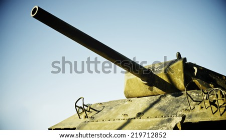 M10 tank in Overlord Museum Omaha Beach, Normandy, France. - stock photo