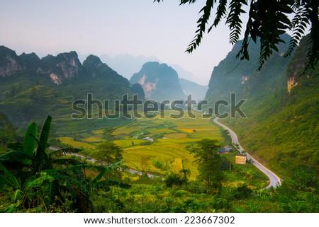Ma Phuc mountain pass in Cao Bang, Vietnam