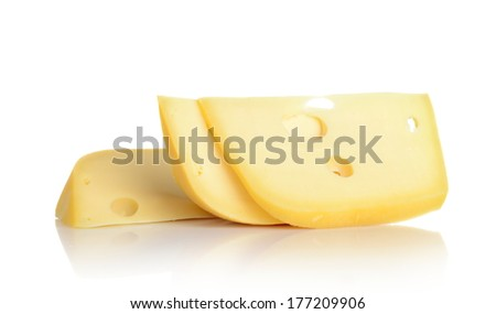 Maasdam cheese isolated on white