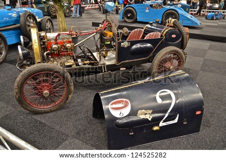 MAASTRICHT, HOLLAND - JANUARY 12: Bugatti Grand Prix car at InterClassics 2013 Classic Cars Event, January 12, 2013
