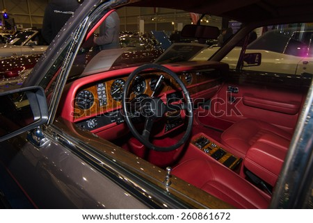 MAASTRICHT, NETHERLANDS - JANUARY 09, 2015: Cabin a full-size luxury car Rolls-Royce Silver Spirit, 1988. International Exhibition InterClassics & Topmobiel 2015 - stock photo