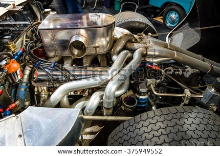 MAASTRICHT, NETHERLANDS - JANUARY 15, 2016: Engine of a high performance American-British endurance racing car Ford GT40 Mark IV, 1967. Close-up. Intern. Exhibition InterClassics & Topmobiel 2016 - stock photo
