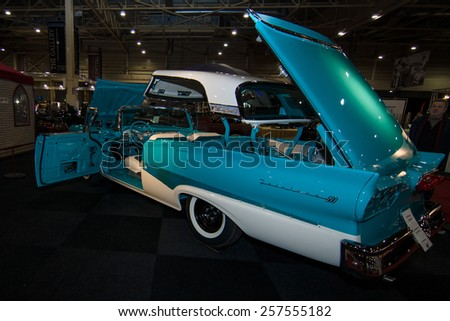 MAASTRICHT, NETHERLANDS - JANUARY 09, 2015: Full-size car Ford Fairlane 500 Skyliner, 1959. International Exhibition InterClassics & Topmobiel 2015