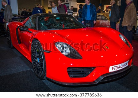 MAASTRICHT, NETHERLANDS - JANUARY 15, 2016: Hypercar Porsche 918 Spyder. International Exhibition InterClassics & Topmobiel 2016