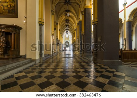 MAASTRICHT, NETHERLANDS - JANUARY 16, 2016: Interior of Basilica of St. Servatius. The Basilica of St. Servatius is a oldest Roman catholic church the Netherlands.