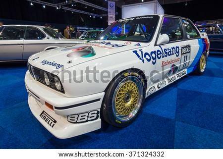 MAASTRICHT, NETHERLANDS - JANUARY 14, 2016: Sports car BMW M3 (E30) DTM, 1990. International Exhibition InterClassics & Topmobiel 2016 - stock photo