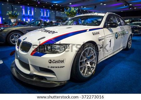 MAASTRICHT, NETHERLANDS - JANUARY 14, 2016: Sports car BMW M3 GT4, 2009. International Exhibition InterClassics & Topmobiel 2016 - stock photo