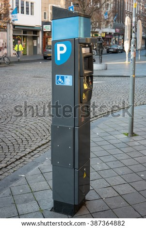 MAASTRICHT, NETHERLANDS - JANUARY 17, 2016: The parking machine. Maastricht is the oldest city of the Netherlands and the capital city of the province of Limburg. - stock photo