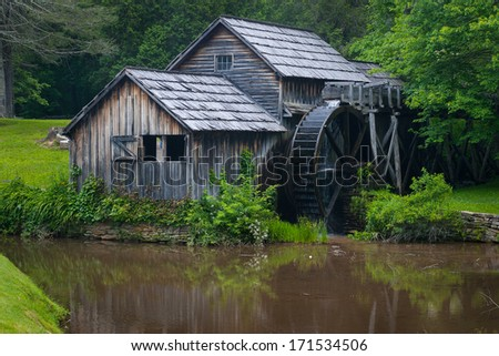 Mabry Mill, Virginia - Mabry Mill is one of the few fully functioning mills left in America.  It is now operated by the National Park system in the U.S.A. - stock photo