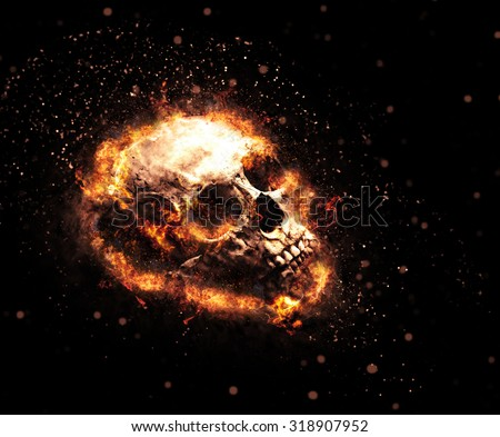 Macabre flaming skull with ghoulish teeth and tendrils of fiery orange flames on a dark background, Halloween or Hell concept - stock photo