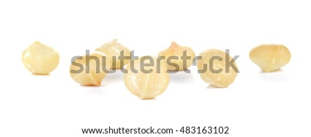 Macadamia isolated on white background.Focus macadamia front.