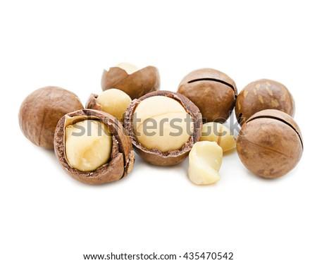 Macadamia nut on white background - stock photo