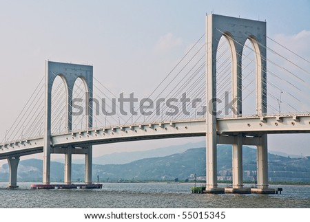 Macao white bridge - stock photo