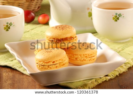 Macaron served at afternoon tea time