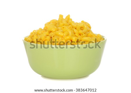 macaroni and cheese in green bowl - stock photo