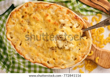 Macaroni and cheese, traditional american food.