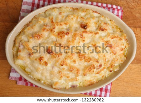 Macaroni cheese still bubbling from the oven. - stock photo