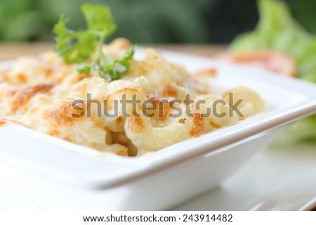 macaroni gratin - stock photo