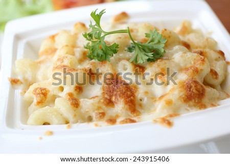 macaroni gratin - stock photo