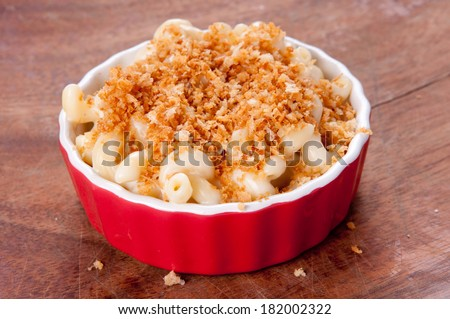 macaroni noodles and cheese with toasted breadcrumb topping - stock photo